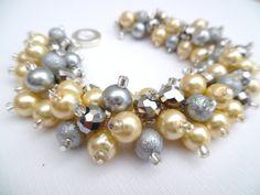 Lemon and Gray Pearl Beaded Bracelet, Bridesmaid Bracelet, Chunky Jewelry, Cluster Bracelet, Bridal Jewelry, Lemon Wedding Theme, Yellow by KIMMSMITH on Etsy