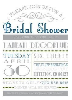 Customizable Bridal Shower Invitation on Etsy