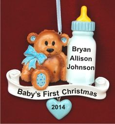 Baby Bear & Bottle Blue Personalized Christmas Ornament