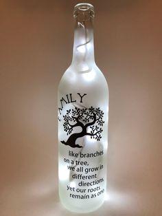 bottle crafts family Family - Like Branches on a Tree Wine Bottle Light Liquor Bottle Crafts, Wine Bottle Corks, Diy Bottle, Bottle Art, Light Up Bottles, Bottle Lights, Bottles And Jars, Glass Bottles, Bottle Lamps