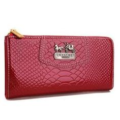coach bag clearance outlet nueu  Coach Madison Continental Zip In Croc Embossed Large Red Wallets AGI