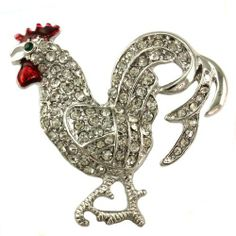 Large Red Rooster Chicken Brooch Pin Clear Stones Red Enamel Silver Tone Farm Animal Jewelry Soulbreezecollection. $10.99. Condition: Brand New. Stone: Clear (Colors May Vary Due To Different Display Settings). Nickel and Lead Free / Lead Compliant. Brooch Size: Approx 1.5 Inch Width x 1.5 Inch Length. Material: Rhodium Plated. Save 35%!