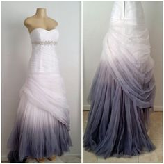 Ombre Hand Dyed from a soft Pearl gray to a Stormy deep gray.