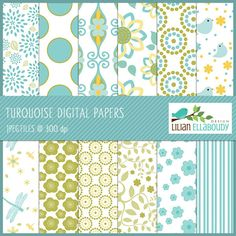 Turquoise digital papers