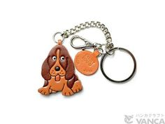 Basset Hound 3D Leather Dog/Animal Ring Charm Keychain Keyring key fob/Accessory *VANCA* Made in Japan #26055