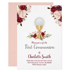 first communion watercolor flowers decor invitation   Zazzle.com