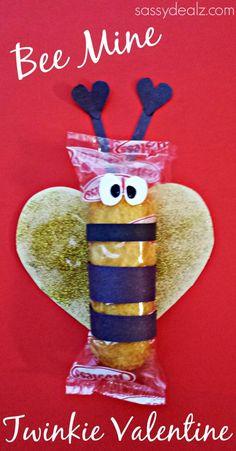 """Bee Mine"" - Bumble Bee Twinkie Valentine Idea #valentinesday #craft #kids"