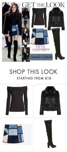 """""""Camila Cabello Fifth Harmony arriving At BBC Radio 1 Studios in London. April.7.2016"""" by valenlss ❤ liked on Polyvore featuring H&M, Topshop, Zara and Steve Madden"""