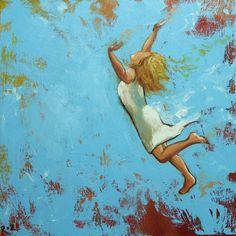 Leap painting 483 18x18 inch original portrait figure oil painting by Roz