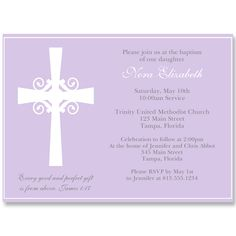 Silhouette Cross Purple Baptism Invitation. Invite guests to your Baptism with this purple invitation featuring a decorative cross.