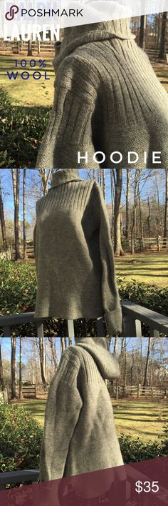 Ralph Lauren 100% WOOL HOODIE Fantastic, tight knit heavy 100% wool hoodie. This is ideal for wearing during winter sports, or outdoors when warmth is needed. Great slouchy style. Turtleneck with hood. EUC. No flaws. Bundle to save extra 15%. Polo by Ralph Lauren Sweaters