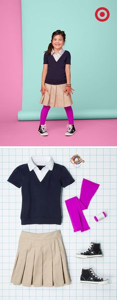 Add a pop of color and originality to a girls' school uniform with brightly colored tights.