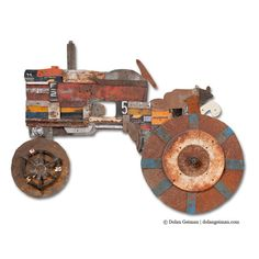 Tractor Gift for Him, Salvaged Metal, The Farmer Collection, Made to Order Wall Art.