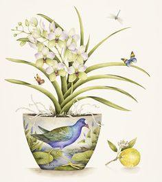 Purple Gallinule with Vanda Orchid - 2017 - SOLD (available as a print on request) Watercolor Flowers, Watercolor Paintings, Original Paintings, Botanical Drawings, Botanical Prints, Orchid Drawing, Abstract Flower Art, Color Pencil Art, Pictures To Paint
