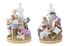 A MEISSEIN PORCELAIN GROUP Germany, 19th century  Modelled as playing children with costumes Lot 117