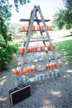 rustic food displays | drink-display-ladder-wedding-cloud-9-denver-wedding-planner-colorado ...