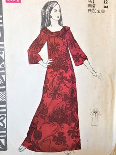 b3b61859e1dc Vintage Polynesian Pattern 192 Nohea Hawaiian Long Dress Size 12 Uncut  #PolynesianPattern Hawaii Outfits,