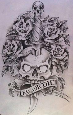 Do or Die by nsanenl on DeviantArt – skull tattoo sleeve Skull Tattoo Design, Tattoo Design Drawings, Pencil Art Drawings, Drawing Sketches, Tattoo Designs, Skull Drawings, Evil Tattoos, Skull Tattoos, Body Art Tattoos