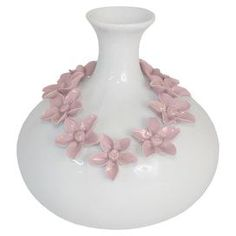 White porcelain and ceramic vase with pink floral details.