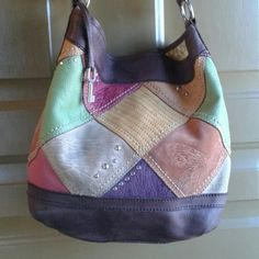 FabFind #05 Lg Fossil leather hobo in exc cond Leather and suede. Adorable outside and inside! Plz see pg 2. Bags Hobos