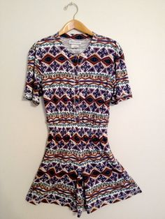 ShortSleeve Ethnic Print Button-Up Romper  #ethnicprint #Ethnicprintromper #shortsleeveromper
