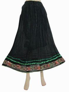 "Long Skirt for Women Retro Bohemian Style Black Green Bohemian Maxi Skirt 39"" Mogul Interior,http://www.amazon.com/dp/B00AB9YUT2/ref=cm_sw_r_pi_dp_IiSRqb0VFVZM8RPX"