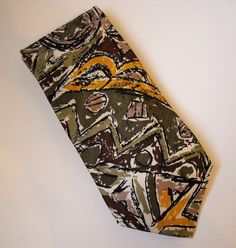 Carlo Palazzi Green Purple Gold Neck Tie 100% Italian Silk Mens Abstract Shapes #CarloPalazzi #NeckTie
