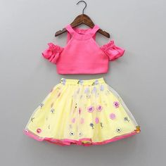 Pre Order: Cold-Shoulder Pink Top With Yellow Skirt Baby Girl Skirts, Dresses Kids Girl, Kids Outfits Girls, Girl Outfits, Girls Frock Design, Kids Frocks Design, Kids Blouse Designs, Blouse Neck Designs, Designer Party Wear Dresses