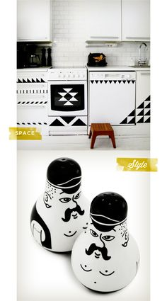 Black and white kitchen made with sticker tape. Via MoreDesignPlease. Oh, and the salt and pepper shakers are pretty much the best too.