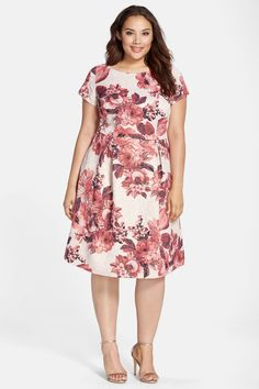 Matelasse Floral Jacquard Fit & Flare Dress (Plus Size) by Adrianna Papell on @nordstrom_rack