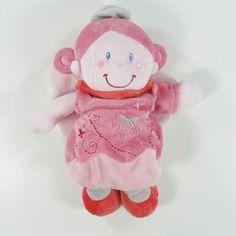 Doudou peluche fillette poupée fée princesse papillon velours rose Nicotoy