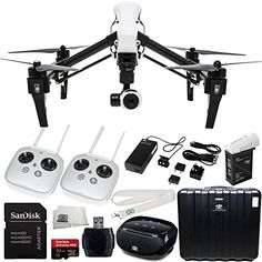 DJI Inspire 1 with Dual Remotes Starter Kit Includes SanDisk Extreme PRO 32GB UHSIU3 Micro SDHC Memory Card SDSDQXP032GG46A  High Speed Memory Card Reader  SSE Transmitter Lanyard  Microfiber Cleaning Cloth  SSE FURY SPEAKER * Check out the image by visiting the link.