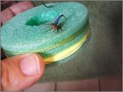 Tenkara line holder made from a pool noodle