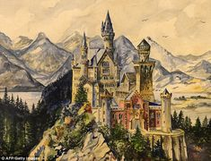 Up for auction: The most expensive lot is this painting of King Ludwig II's Neuschwanstein Castle in Bavaria