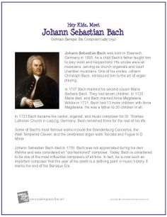 Johann Sebastian Bach | Printable Biography - MakingMusicFun.net