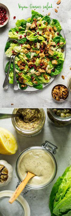 #vegan #salad #caesar #caesarsalad #glutenfree #healthy #vegetarian #dairyfree #oilfree #croutons #lunch
