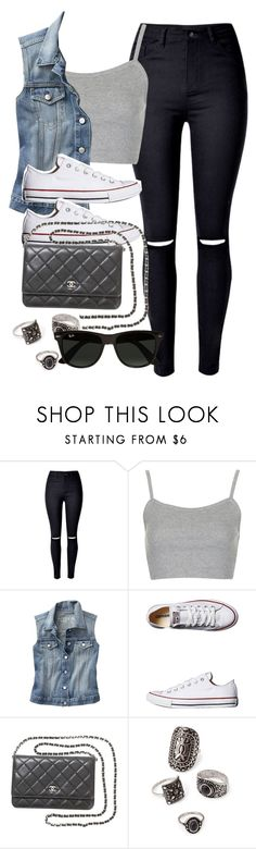 """""""Style #9967"""" by vany-alvarado ❤ liked on Polyvore featuring Topshop, Gap, Converse, Chanel, Forever 21 and Ray-Ban"""