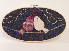 Handmade Love Birds on a Wire- Reclaimed wool felt applique- $30