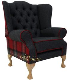 Chesterfield Frederick Wing Chair Fireside High Back Armchair Skye Red Check Fabric High Back Armchair, High Back Chairs, Chair Upholstery, Upholstered Chairs, Wingback Chair, Pink Desk Chair, Retro Office Chair, Chesterfield Armchair, Navy Living Rooms