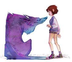 Girl & purple wolf