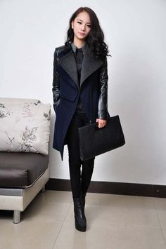 Style: commuting Length: length Sleeve length: long sleeve The collar: Double collar Clothing: zipper placket Pop / process: mosaic Color: dark blue Size: S M L XL XXL S length 86CM, width 38CM, bust 84CM, waist 70CM, sleeve cuff around 60.5CM, 24CM M length 87CM ...