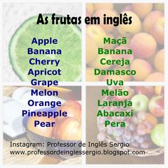 As frutas em inglês #inglês #aprenderinglês #inglêsparabrasileiros English Help, Fluent English, Improve Your English, English Course, Learn English Words, English Tips, English Study, English Grammar, English Language