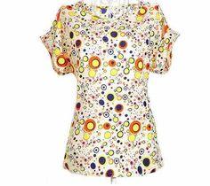 Blusa De Seda Estampa Bolinhas Amarelas - R$ 50,00