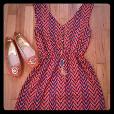 Navy and orange summer dress Like new!!! Be game.day ready! Dresses Mini