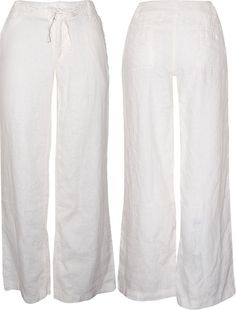 White Relaxed Linen/Organic Cotton/Bamboo Pants- Kundalini yoga