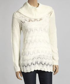 Cream Ribbed Cowl Neck Sweater