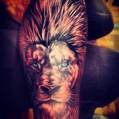 Lion tattoo, males arm, amazing art, men are hotter with tattoos definitely…