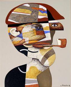 Jesus Risueño - Pintura: Fumador - T. Mixta