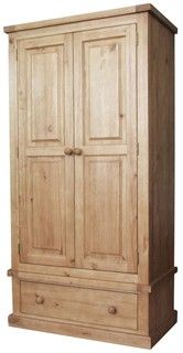 Quality chunky design single wardrobe, solid pine furniture built using traditional techniques and finished in a satin lacquer - Buy online - UK stock - Quick delivery Canvas Wardrobe, Pine Wardrobe, Bedroom Wardrobe, Mirrored Wardrobe, Solid Pine Furniture, Pine Bedroom Furniture, Cheap Furniture, Wooden Furniture, Wardrobe Cabinets