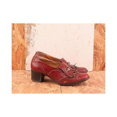 Vintage - No. 396 Kiltie Burgundy Heeled Loafer Size 7 ($60) ❤ liked on Polyvore